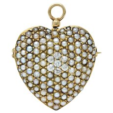 Victorian Natural Freshwater Seed Pearl Diamond 14 Karat Gold Heart Pendant Brooch
