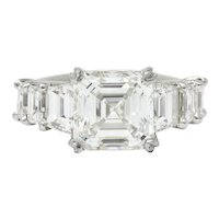 1950's Mid-Century 5.90 CTW Asscher Diamond Platinum Engagement Ring GIA