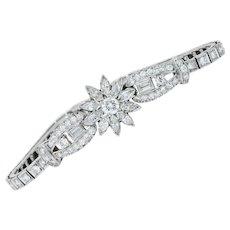1950's 4.00 CTW Diamond Platinum Floral Cluster Link Bracelet