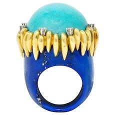 Substantial Vintage 1960's Turquoise Lapis Diamond 18 Karat Gold Statement Ring