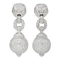 Cartier 7.50 CTW Diamond 18 Karat White Gold Vintage Drop Ear-Clip Earrings