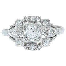 Sweet Edwardian 0.50 CTW Diamond Platinum Dinner Ring
