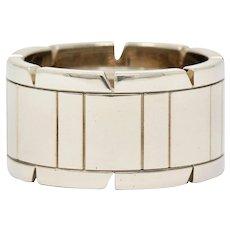 Cartier Vintage 18 Karat White Gold Unisex Tank Francaise Band Ring