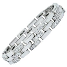 Cartier 3.36 CTW Diamond Maillon Panthere 18 Karat White Gold Link Bracelet French