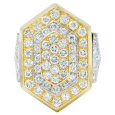 David Webb 3.25 CTW Pave Diamond Platinum 18 Karat Gold Hexagonal Statement Ring
