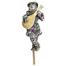 Victorian Rose Cut Diamond Ruby Silver-Topped 18 Karat Gold Bard Stickpin