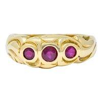 Art Nouveau Ruby 14 Karat Gold Three Stone Band Ring