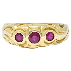 Art Nouveau Ruby 14 Karat Gold Three Stone Band Ring