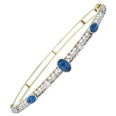 A.J. Hedges & Co. Edwardian Diamond Sapphire Platinum-Topped 14 Karat Gold Bangle