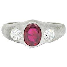 Van Cleef & Arpels Retro 2.55 CTW Ruby Diamond Platinum Men's Gypsy Ring