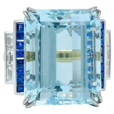 1950's Mid-Century 41.22 CTW Aquamarine Sapphire Diamond Platinum 18 Karat Gold Cocktail Ring
