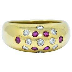 Vintage 0.55 CTW Ruby Diamond 18 Karat Gold Bombe Sprinkle Band Ring