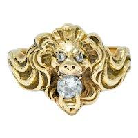 Victorian Diamond 14 Karat Gold Lion Band Ring Circa 1890