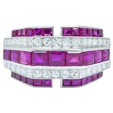 Retro 3.00 CTW Diamond Ruby Platinum Stepped Band Ring Circa 1940