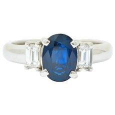 Contemporary 2.08 CTW Sapphire Diamond Platinum Three Stone Ring