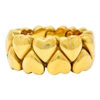 Cartier 18 Karat Gold Double Coeurs Heart Band Ring Circa 1994