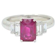 Contemporary 3.49 CTW Burma Ruby Diamond Platinum Stepped Statement Ring GIA
