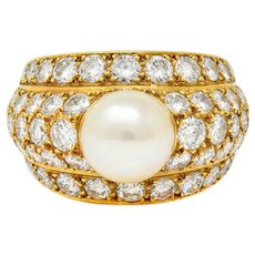 Cartier 2.80 CTW Pave Diamond Cultured Pearl French 18 Karat Gold Band Ring