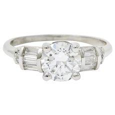 1950's 1.32 CTW Diamond Platinum Engagement Ring GIA Circa 1950