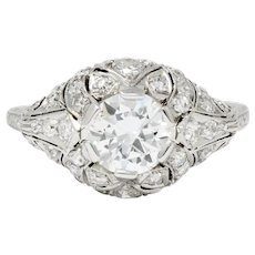 Edwardian 1.95 CTW Diamond Platinum Scrolled Engagement Ring GIA