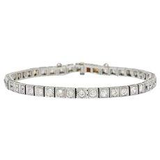 1930's Art Deco 4.85 CTW Diamond Platinum Line Bracelet