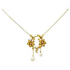 Art Nouveau Pearl Diamond 18 Karat Gold Floral Necklace
