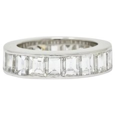 1950's Mid-Century 8.50 CTW Step Cut Diamond Platinum Eternity Band Ring