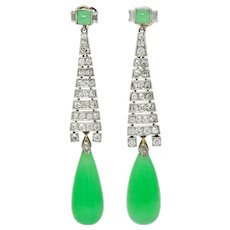 Art Deco Diamond Jadeite Jade Platinum Articulated Drop Screwback Earrings GIA