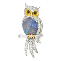 Vintage Black Opal Diamond Platinum 18 Karat Gold Owl Brooch