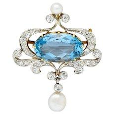 Edwardian 5.45 CTW Aquamarine Diamond Pearl Platinum-Topped 18 Karat Gold Brooch