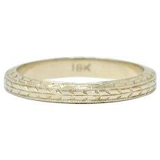 Art Deco 18 Karat White Gold Engraved Wheat Band Ring