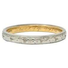Art Deco 14 Karat Two-Tone Gold Orange Blossom Band Ring