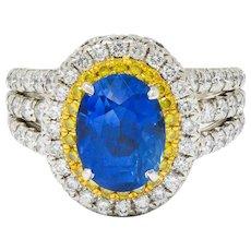 Charles Krypell No Heat Ceylon Sapphire White & Fancy Yellow Diamond Platinum Ring