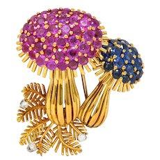 1970's Vintage 8.60 CTW Sapphire Diamond 18 Karat Gold Mushroom Brooch