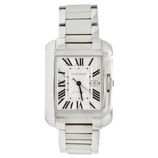 Cartier Tank Anglaise Sapphire Crystal Silver Stainless Steel Men's Unisex Watch