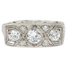 Edwardian 0.87 CTW Diamond Platinum-Topped 18 Karat White Gold Scrolled Band Ring