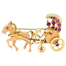 Retro Ruby Cabochon 14 Karat Two-Tone Gold Horse & Carriage Brooch