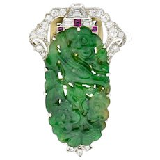 Art Deco Diamond Ruby Carved Jade Platinum Bird & Florals Clip