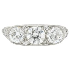 Art Deco 1.90 CTW Diamond Platinum Three Stone Dinner Ring