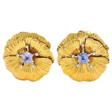 Retro Violet Sapphire Diamond 14 Karat Gold Flower Ear-Clip Earrings