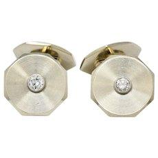 Art Deco 0.52 CTW Diamond 14 Karat White Gold Men's Cufflinks