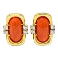 1960's Vintage Coral Diamond 18 Karat Gold Ear-Clip Earrings