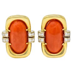 1960's Vintage Coral Diamond 18 Karat Gold Ear-Clip Earrings