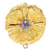 Retro Violet Sapphire Diamond 14 Karat Gold Floral Pendant Brooch