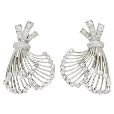 French Art Deco 7.32 CTW Diamond Platinum Flared Earrings