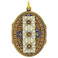 Etruscan Revival Victorian Enamel 14 Karat Gold Beaded Locket Circa 1870