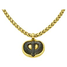 Elizabeth Gage 18 Karat Gold Serpentine Pendant Necklace