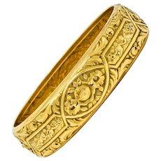 Victorian 18 Karat Gold Rose & Geranium Floral Bangle Bracelet