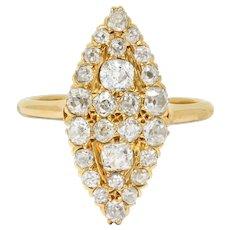 Late Victorian 2.40 CTW Diamond 14 Karat Gold Navette Cluster Ring