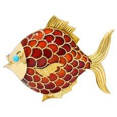 Boucheron 1950's Mid-Century Turquoise Enamel 18 Karat Gold Fish Brooch